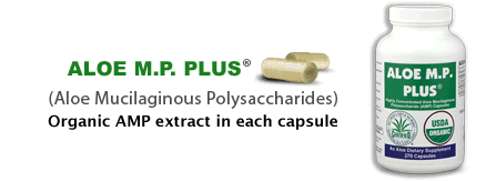 Aloe M.P. Plus - 375 mg. of AMP extract in each 500 mg. capsule!